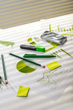 Office table with working stuff Stock Images