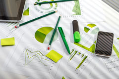 Office table with working stuff Royalty Free Stock Photo