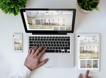 office tabletop cool responsive interior design website royalty free stock photos
