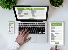 Office tabletop registration form Royalty Free Stock Image