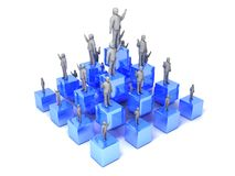 Office team on blue cubes. Illustration of business office team standing on blue cubes Royalty Free Stock Photography