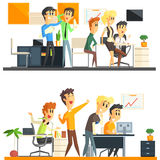 Office Team Two Illustrations Collection Stock Photos