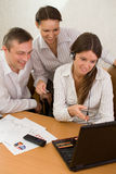 Office team of young people with a laptop Royalty Free Stock Photo