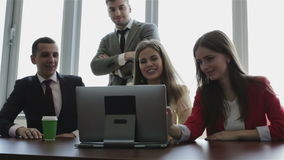 Office and teamwork concept - group of business people having a meeting. stock footage