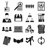 Office teamwork icons set, simple style Royalty Free Stock Photo
