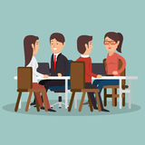 Office teamwork meeting business characters graphic Royalty Free Stock Photo
