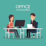 Office teamwork woman and man working pc Stock Image