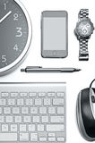Office technology still life. Still life of a computer keyboard, mouse, pen, smart phone, and clock Royalty Free Stock Photo