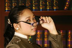 Office teen girl fashion glasses Stock Photos
