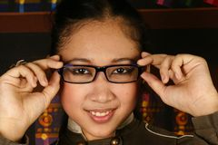 Office teen girl fashion glasses Royalty Free Stock Photo