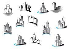 Office, telecommunication and residential. Office, telecommunication, buildings and residential building symbols set. Suitable for architecture real estate Stock Images