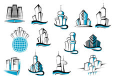 Office, telecommunication and residential. Buildings symbols or emblems set. Suitable for architecture and real estate industry design Royalty Free Stock Photo