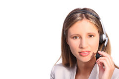 Office telephone operator, beautiful woman with headphones. On white background Royalty Free Stock Images