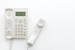 Office telephone on white background, communication and technolo. Gy concept Royalty Free Stock Images