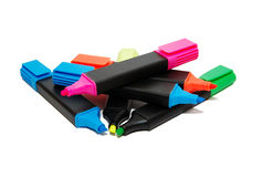 Office textmarkers. Pile of color office textmarkers Stock Photography