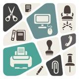 Office theme icons. Background Stock Photo