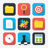 Office themed squared app icon set Stock Photos