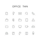 Office thin icon set. Search, pen, document, phone, mail, briefcase, folder, paperclip, printer and others simple vector symbols. Business and work signs Royalty Free Stock Photography