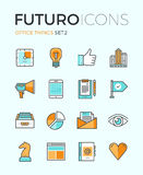 Office things futuro line icons. Line icons with flat design elements of marketing things and business essential tools, personal office equipment, work Royalty Free Stock Image