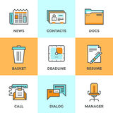 Office things line icons set. Line icons set with flat design elements of office management process, business organization, selection of human resources and Royalty Free Stock Photos