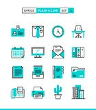 Office things, plain and line icons set, flat design. Vector illustration Stock Photos
