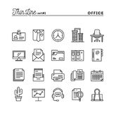 Office things, thin line icons set. Vector illustration Royalty Free Stock Image