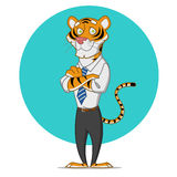 Office tiger. Vector illustration. Tiger in a tie Royalty Free Stock Image