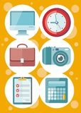 Office and time management icon set Royalty Free Stock Photos