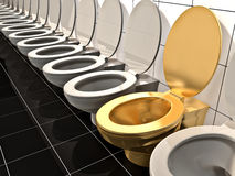 Office toilet. Elite gold office Toilet. Made in 3d Royalty Free Stock Photos