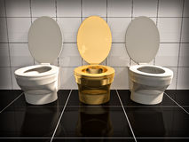 Office toilet. Elite gold office Toilet. Made in 3d Stock Photo