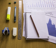 Office Tool on Workspace,Working on a  table chart analysis Royalty Free Stock Photography