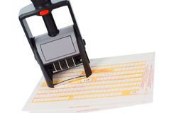 Office tools. Stamp and money transfer over white Royalty Free Stock Images