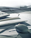 Office tools. Computer mouse, envelope, papers. Office tools Stock Photo