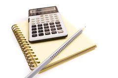 Office tools. With pen, notebook and calculator Stock Image