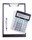 Office tools. With pen, notebook and calculator Stock Images