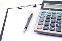 Office tools. With pen, notebook and calculator Royalty Free Stock Image