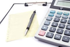 Office tools. With pen, notebook and calculator Royalty Free Stock Photos