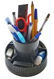 Office tools. Office kit: pencils, pen, eraser, ruler, brush Royalty Free Stock Photo