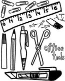 Office tools. Black and white ofice tools on white background. vector image Stock Photography