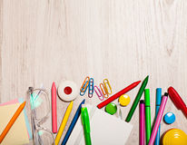 Office tools  assortment border background Royalty Free Stock Photo
