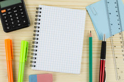 Office tools with blank notebook on wooden table Stock Photography