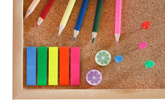 Office tools on cork board Stock Images