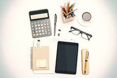 Office tools on desk Royalty Free Stock Photos