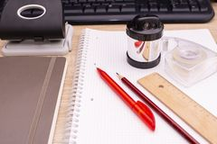 Office tools on the desktop. From the side royalty free stock images
