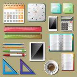 Office tools and devices set. A clock, calculator and some office supplies. Vector stock illustration