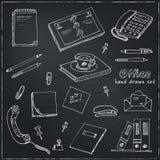 Office tools doodles pen, pencils, book, paper Stock Images