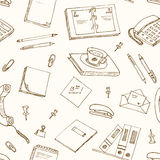 Office tools doodles pen, pencils, book, paper Stock Photo