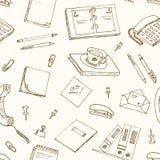 Office tools doodles pen, pencils, book, paper Stock Photo