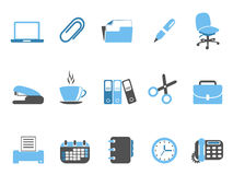 Office tools icon set blue series. Isolated office tools icon set blue series from white background Royalty Free Stock Photos