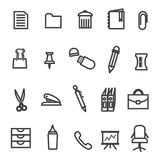 Office Tools icon Set. 20 Different flat office equipment icons Stock Photography